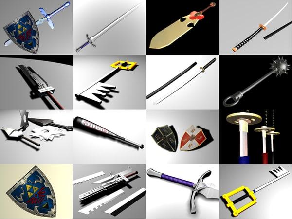 3d model of set swords blade super