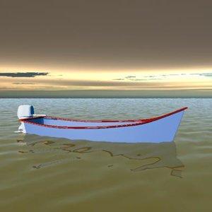 skiff fishing louisiana 3d model