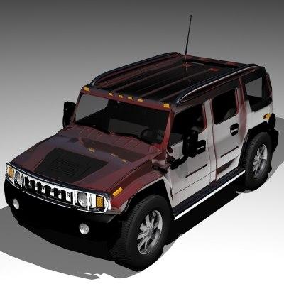 3d hummer h2 model