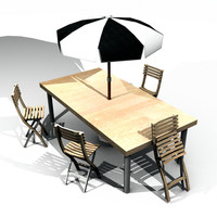 2 Garden Table, Chairs, and Parasol Sets