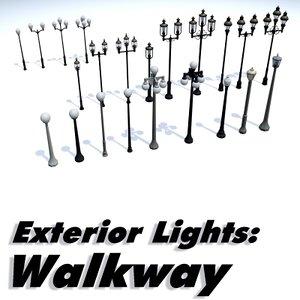 exterior lighting walkways - 3d max