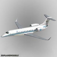 3d embraer erj-135bj business jet model