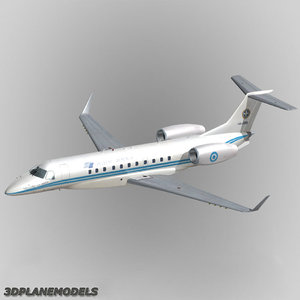 3d embraer erj-135bj business jet model