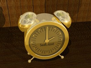 3d clock brass model