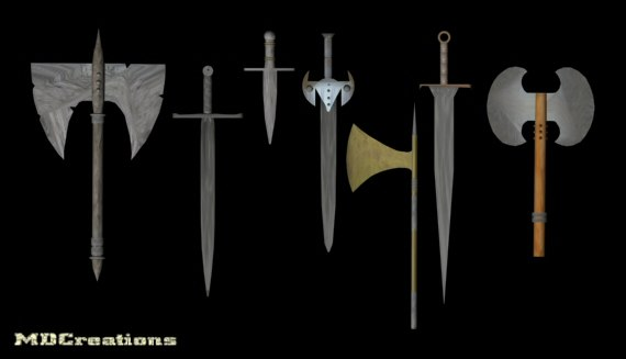 weapons axes swords 3d max