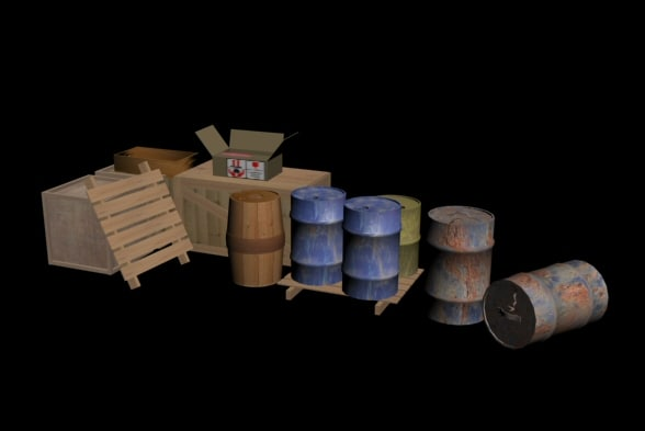 barrels boxes crates 3d model