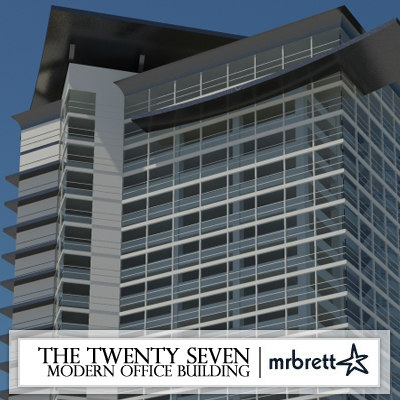 3d model modern office building