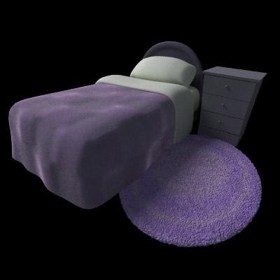 cartoon room bed 3ds