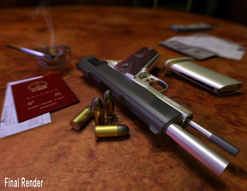 gun shots 3d max