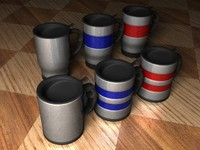 travel mugs cup 3d model