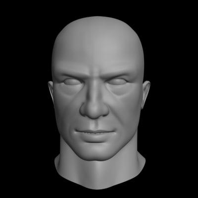 polygonal male head 3d model
