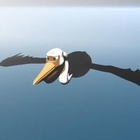 pelican skinned rigged 3d model