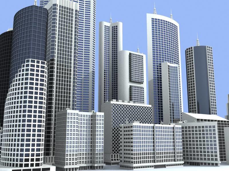 3d model 15 buildings structure skyscrapers