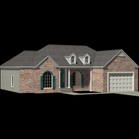 3d american house exterior ranch