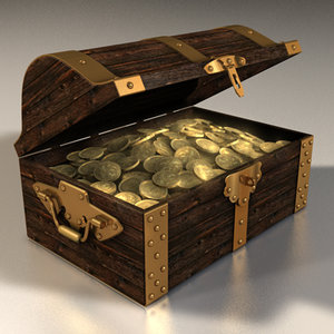 hinges chest gold 3d model