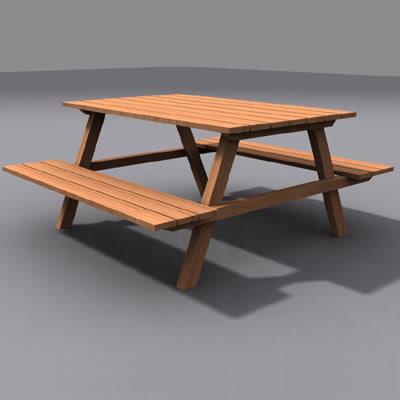picnic table 02 3d model