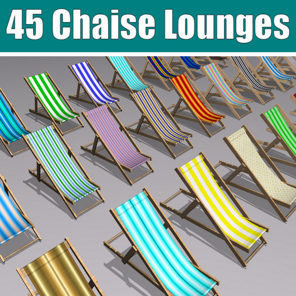 45 chaise lounges 3d obj