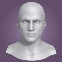 obj polygonal male head