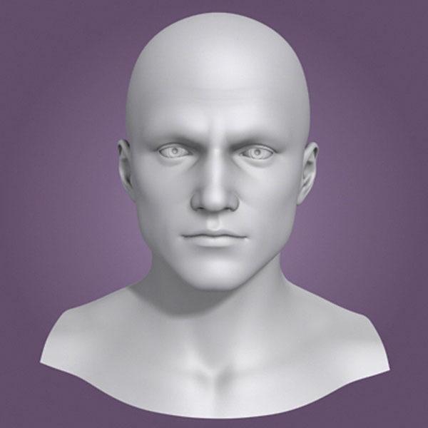 obj polygonal male head