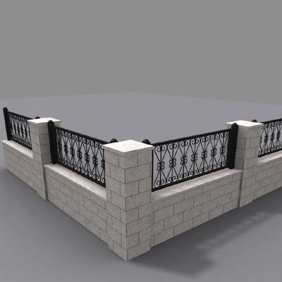 fence wall 3d model