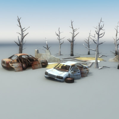 3ds max derelict car scene