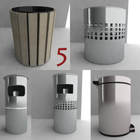 3d model bin trash dustbin