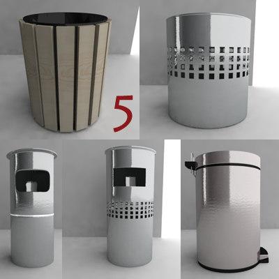 3d model bin trash dustbin