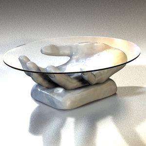 designer hand glass table 3ds