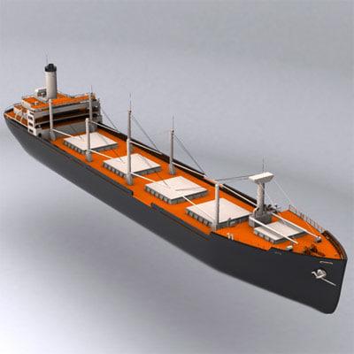 3d model cargo ship old