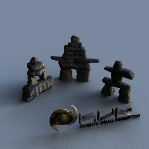 inukshuk stone markers 3d model