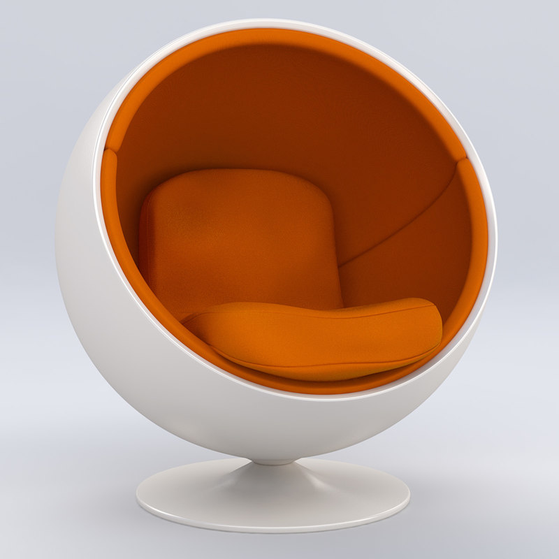 3d retro ball chair model