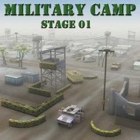 3d desert military base buildings
