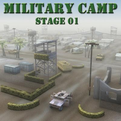 3d desert military base buildings
