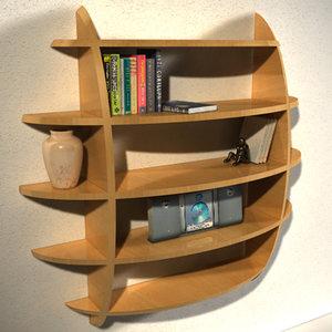 3d designer shelf book