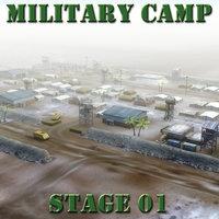 3d desert military base model
