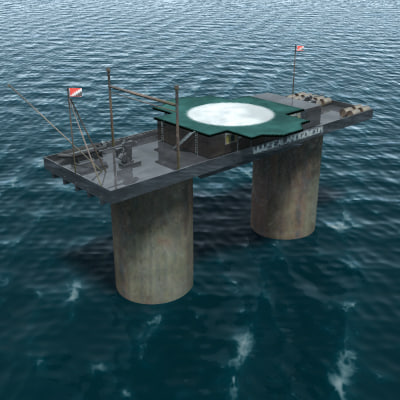 sealand tower fortress seas 3d model