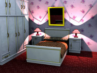 3d bed room grouped model