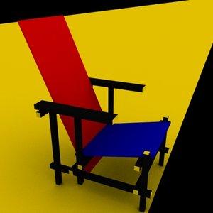 3d model chair designed gerit