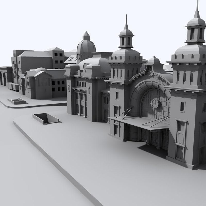 3d model railway station buildings
