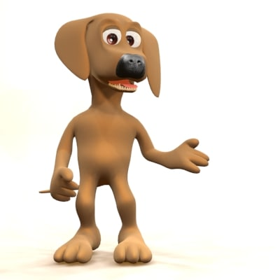 rigged cartoon dog biped 3d max