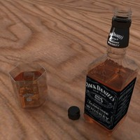 3d jack daniels bottle glass model