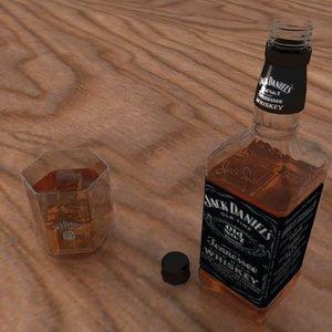 3d jack daniels bottle glass model