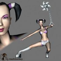 female fighter 3d model