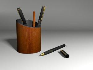 ballpoint pens penholder 3d model
