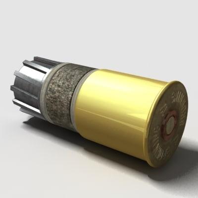 3d shotgun cartridge ammunition model