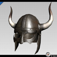 free viking horned helmed low-poly 3d model