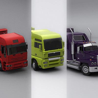 3d semi trucks model