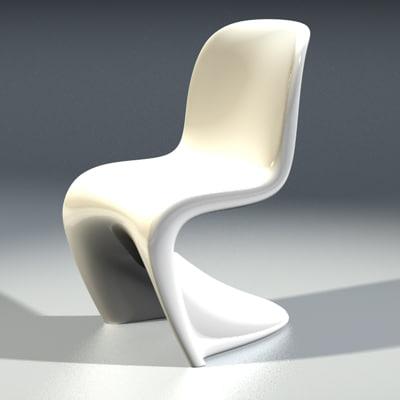 panton designer chair sixties 3ds