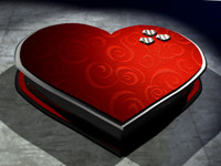 3d heart valentine box model
