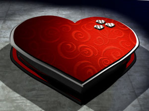 3d heart valentine box model